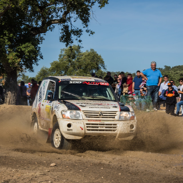 """An off-road car Mitsubishi Pajero during the Baja TT Portalegre 500 2019"" stock image"