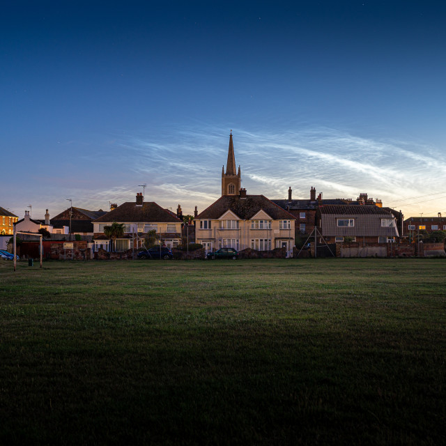 """Noctilucent Clouds Over Old Harwich"" stock image"
