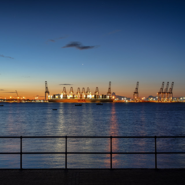 """Felixstowe By Night"" stock image"