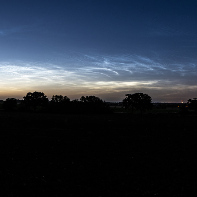 """Thorpe Le Soken Noctilucent Clouds"" stock image"