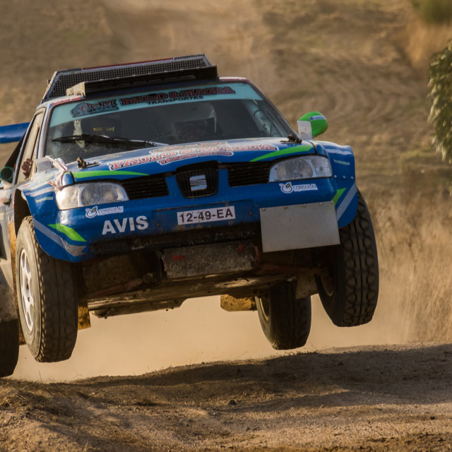 """A Seat off-road race car makes a jump on a dirt road"" stock image"