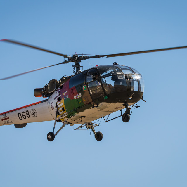 """Military helicopter Alouette III of the Portuguese Air Force"" stock image"