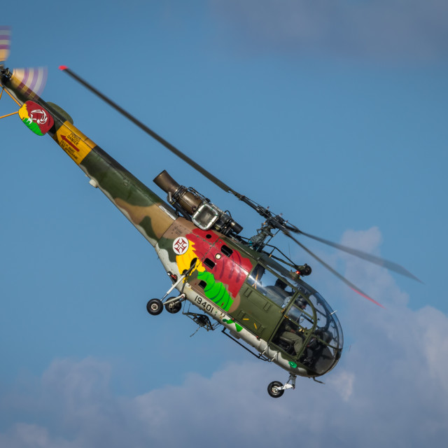 """""""Military helicopter Alouette III of the Portuguese Air Force"""" stock image"""
