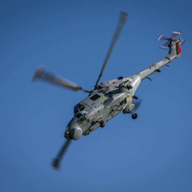 """""""Military helicopter Lynx Mk 95 of the Portuguese Navy"""" stock image"""