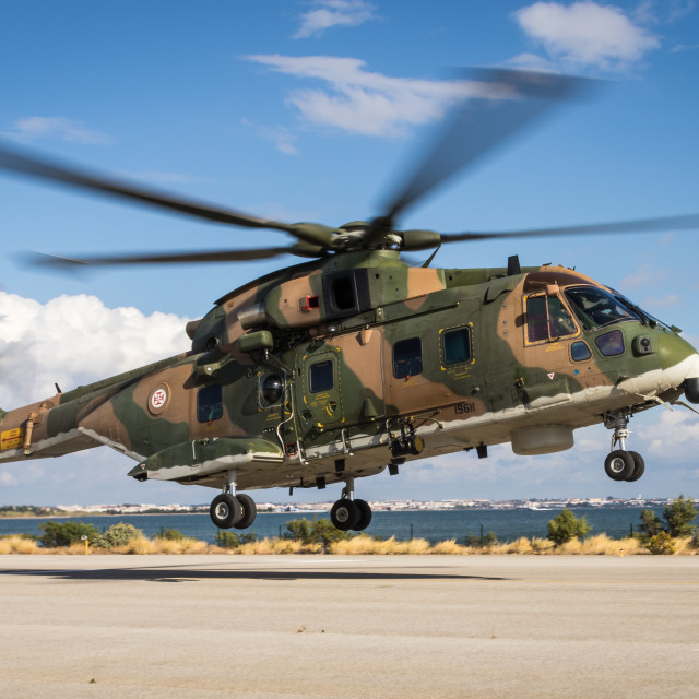 """Military helicopter EH-101 Merlin of the Portuguese Air Force"" stock image"