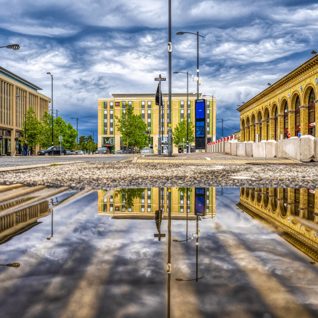 """""""Reflections from Cambridge South Train Station."""" stock image"""