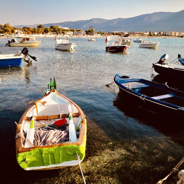 """""""Boats at Alykanas on Zakynthos"""" stock image"""
