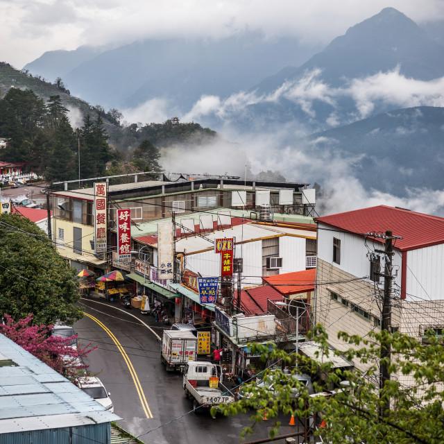 """Main Street, Li Shan, Taiwan"" stock image"