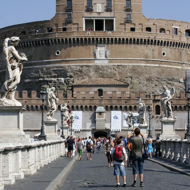 """Beggar Woman on Ponte Sant'Angelo, Rome"" stock image"