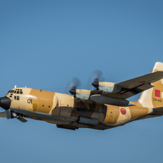 """""""C-130H Hercules transport aircraft of the Royal Moroccan Air Force"""" stock image"""