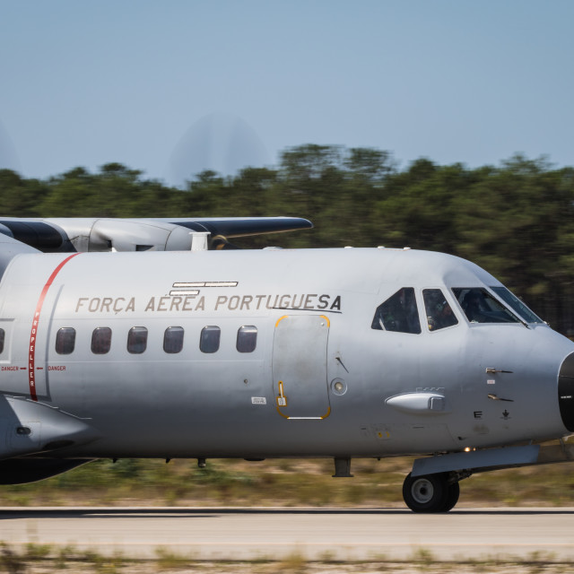 """""""Close-up view of a Portuguese Air Force CASA C-295 transport aircraft"""" stock image"""