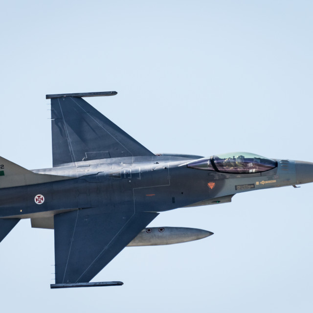 """""""Portuguese Air Force F-16AM Fighting Falcon in flight"""" stock image"""