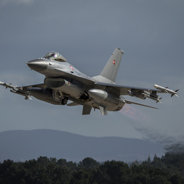 """""""F-16AM Fighting Falcon of the Royal Danish Air Force taking off"""" stock image"""
