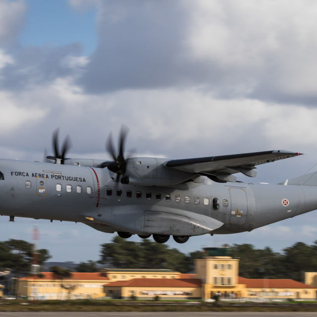 """A C-295M transport aircraft of the Portuguese Air Force takes off"" stock image"