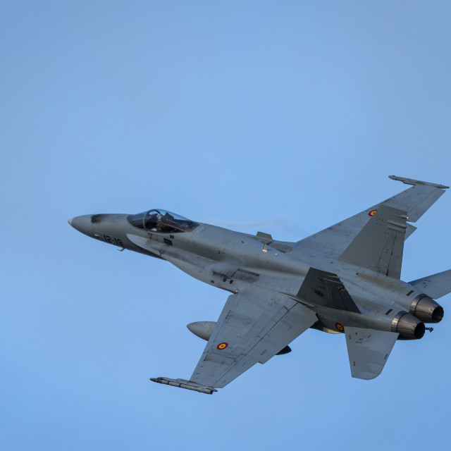 """""""An EF-18 Hornet of the Spanish Air Force in flight"""" stock image"""