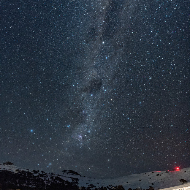 """Kangaroo Ridge under the Milky Way #2 // Charlotte Pass, Austral"" stock image"