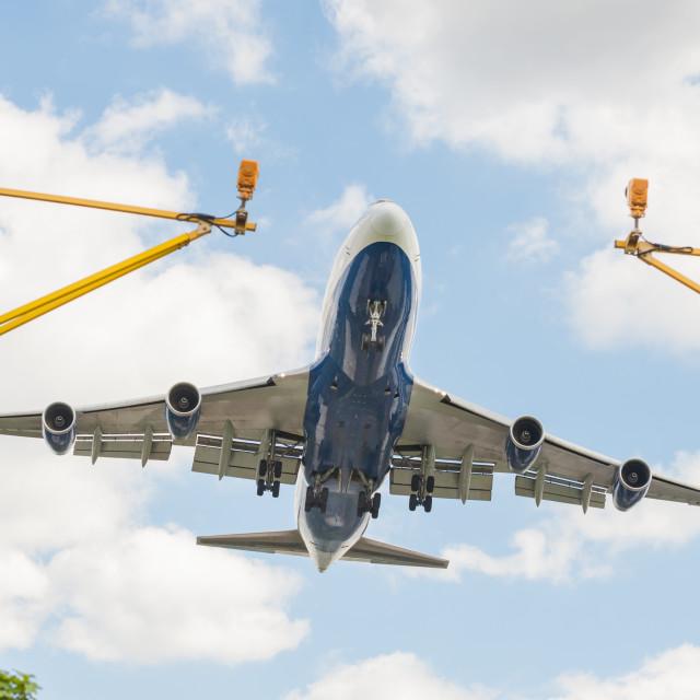 """""""large passenger jet landing"""" stock image"""