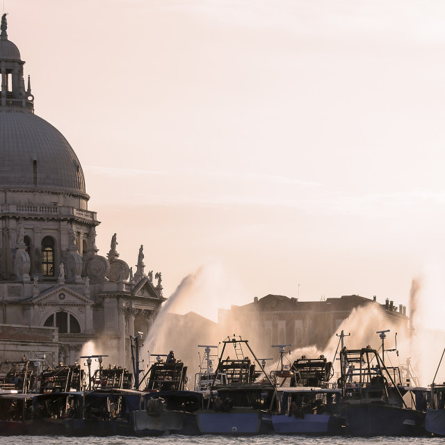 """Grand Canal Blockade, Venice"" stock image"
