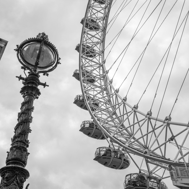 """London Eye and Old Thames Lamp"" stock image"