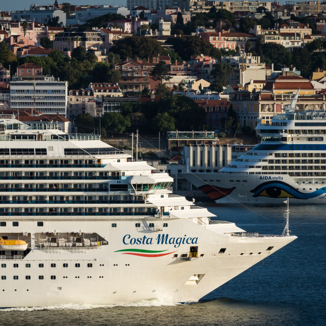 """Two cruise ships facing each other on different planes"" stock image"