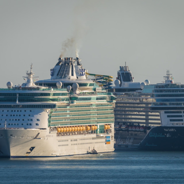 """Two large cruise ships at Lisbon, Portugal"" stock image"