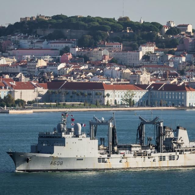 """Replenishment oiler Var of the French Navy at Lisbon"" stock image"
