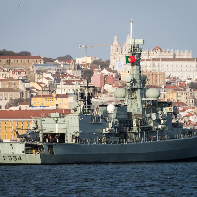 """Frigate NRP D. Francisco de Almeida of the Portuguese Navy"" stock image"