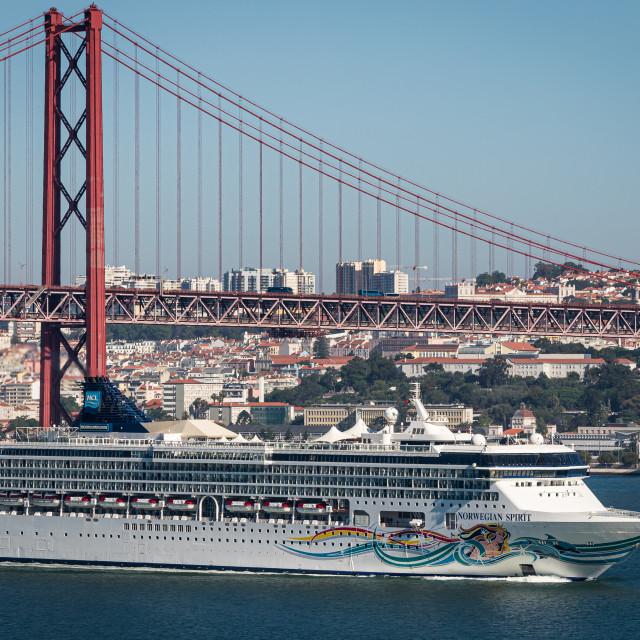 """""""Cruise ship Norwegian Spirit arriving in Lisbon"""" stock image"""