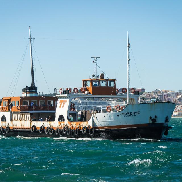 """Portuguese ferryboat Eborense heading for the pier"" stock image"