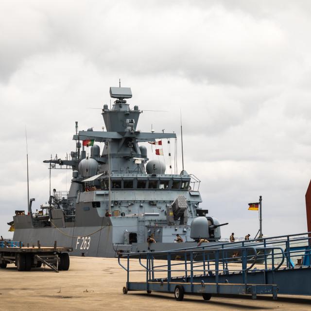 """Corvette Oldenburg of the German Navy moored at the pier inLisbon"" stock image"