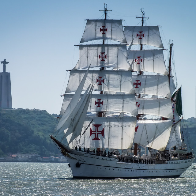 """Sailing ship NRP Sagres of the Portuguese Navy"" stock image"