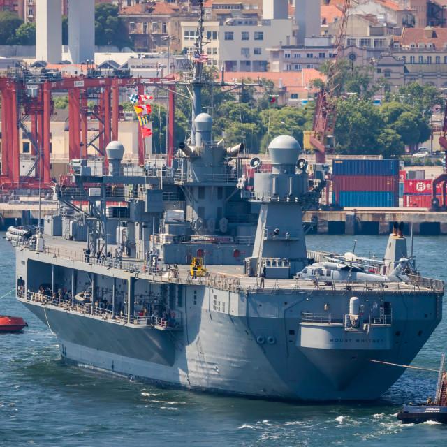 """Amphibious command ship USS Mount Whitney of the US Navy"" stock image"