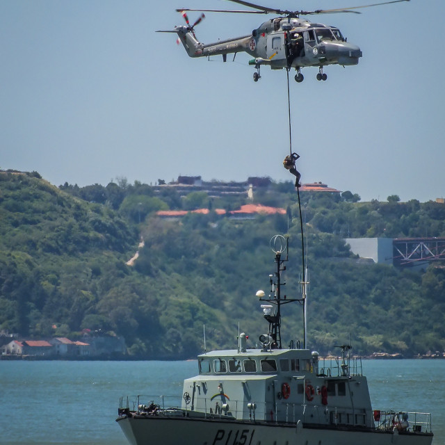 """""""Portuguese Navy Marines fast-roping from a Lynx helicopter"""" stock image"""