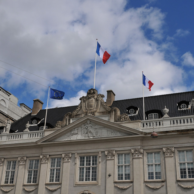 """French flag and eu flag fly over French Embassy in Copenhagen"" stock image"