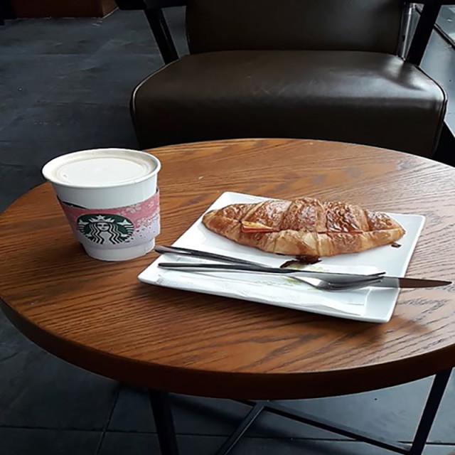"""Breakfast at Starbucks"" stock image"
