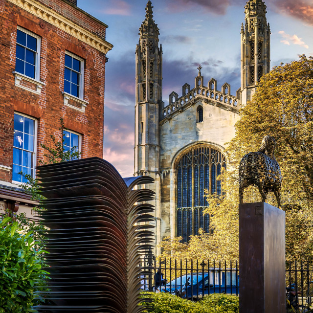 """""""King's College Chapel, Cambridge UK during Blue Hour."""" stock image"""