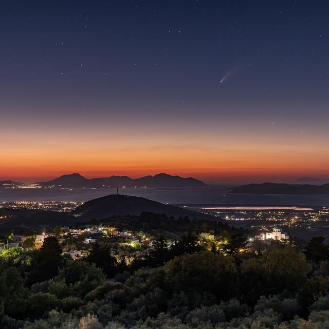 """""""Comet Neowise over Kos island"""" stock image"""