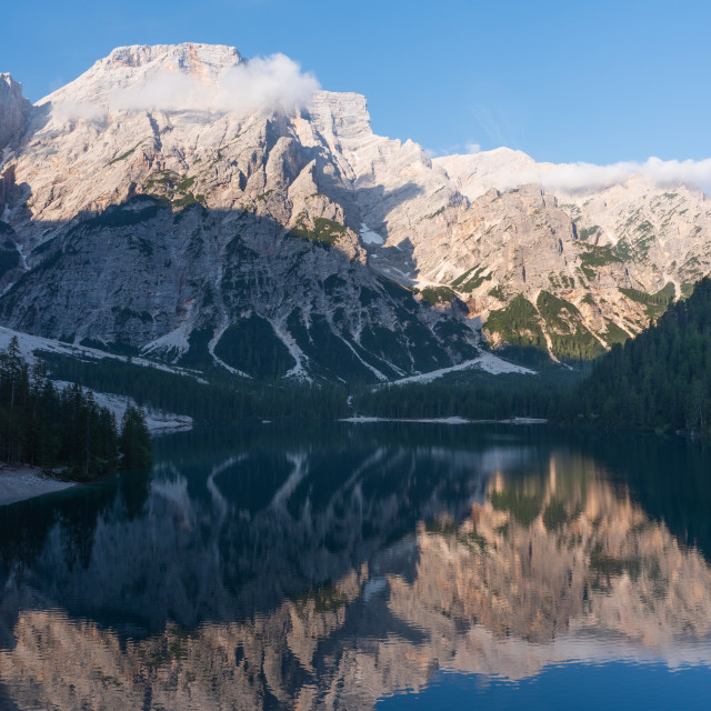 """""""Mountain landscape reflected in the waters of Lake Braies"""" stock image"""