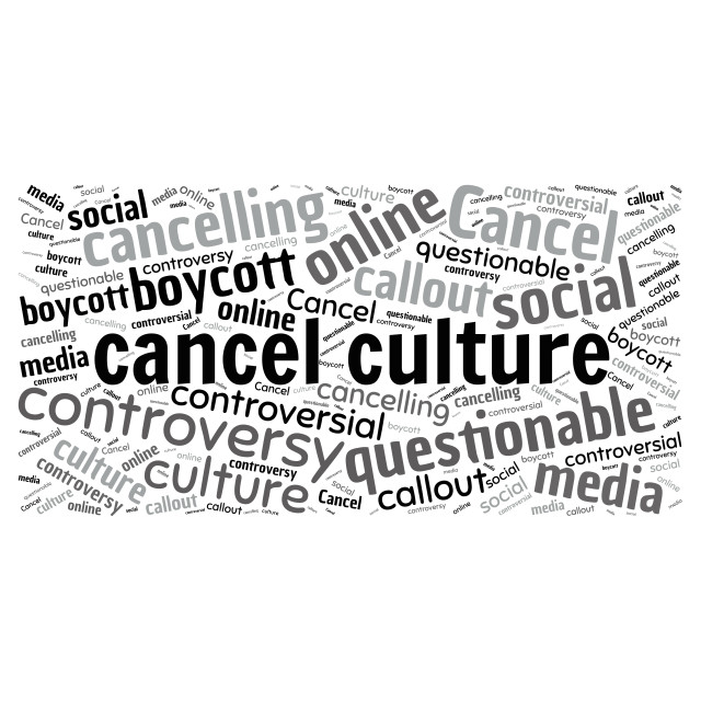 """""""Illustration of a word cloud with words representing cancel cult"""" stock image"""