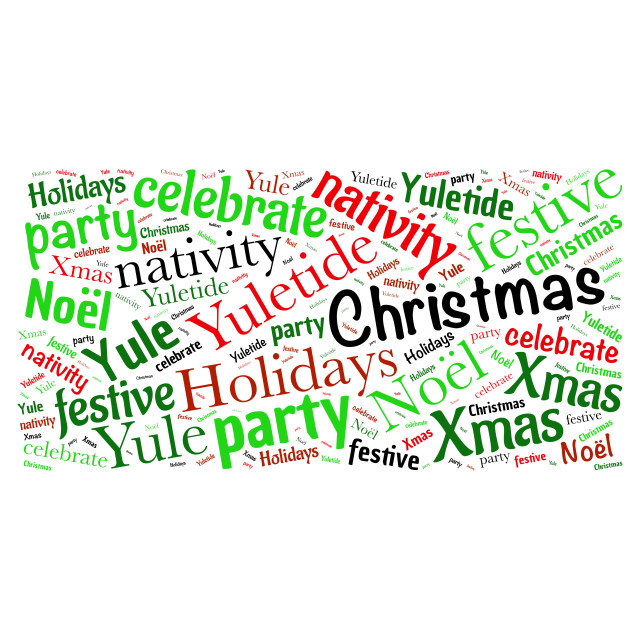 """""""Illustration of a word cloud with words representing Christmas"""" stock image"""