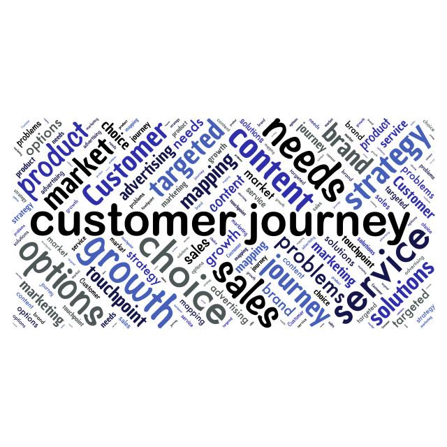 """""""Illustration of a word cloud with words representing customer jo"""" stock image"""