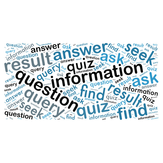 """""""Illustration of a word cloud with words representing information"""" stock image"""