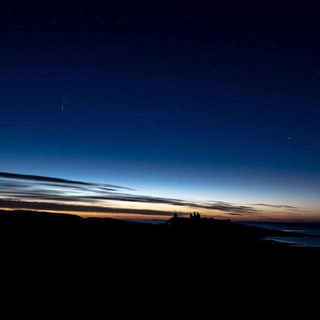 """""""Neowise Comet - Dunstanburgh Castle"""" stock image"""