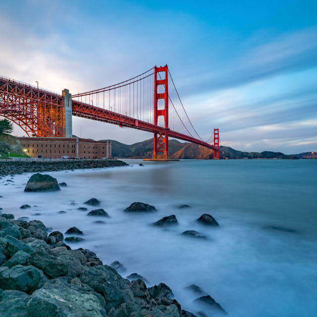 """""""Long exposure shot of Fort Point and Golden Gate Bridge"""" stock image"""