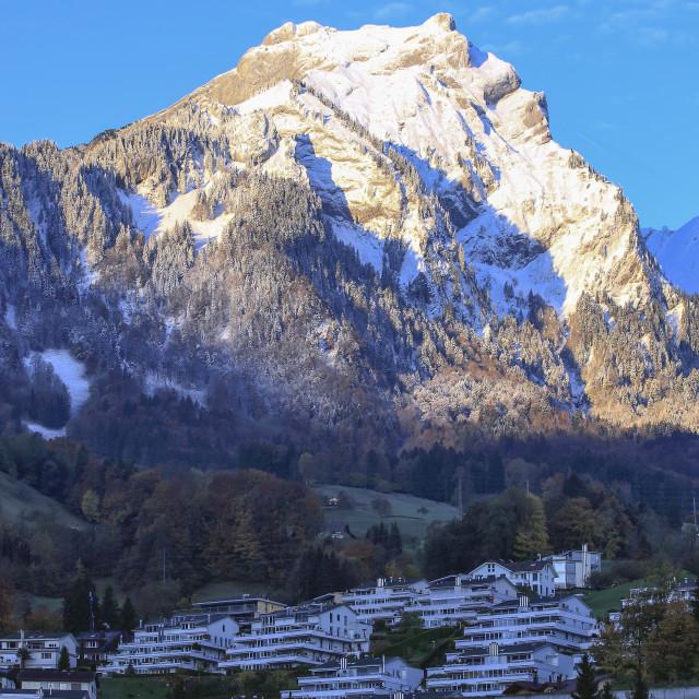 """Mount Pilatus and Hergiswil, Switzerland"" stock image"