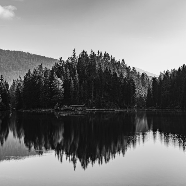 """""""Black and white image of Lake Braies and its reflections"""" stock image"""