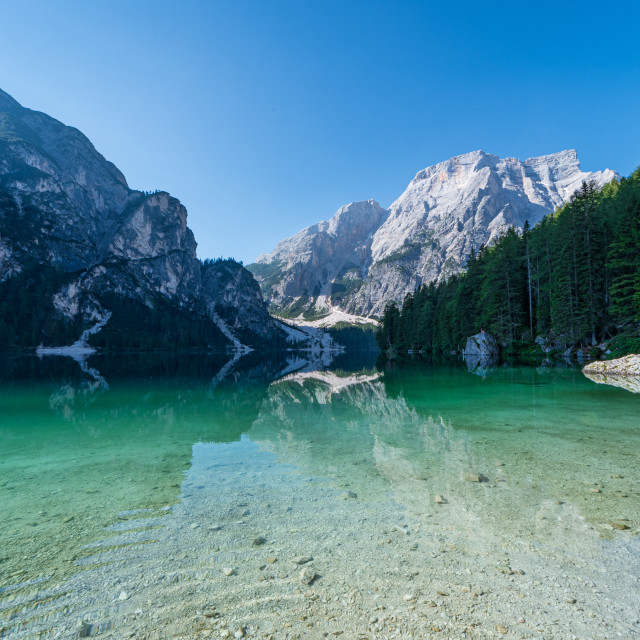 """""""The Seekofel mountain reflected in the clear waters of Lake Brai"""" stock image"""