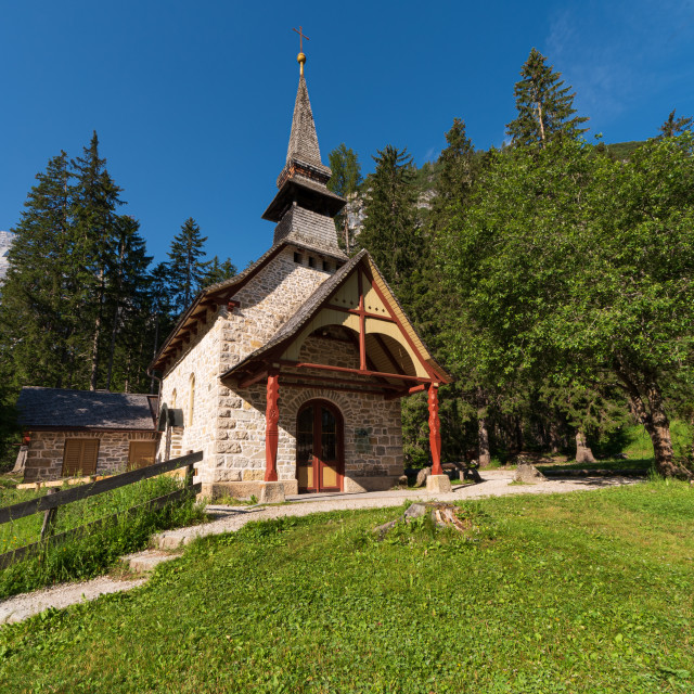 """""""Small church surrounded by nature under the Seekofel"""" stock image"""