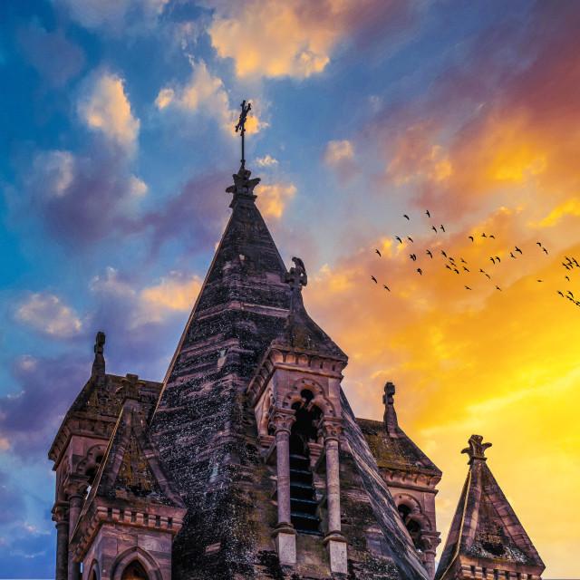 """""""Sunset on Emmanuel United Reformed Church, Cambridge UK."""" stock image"""