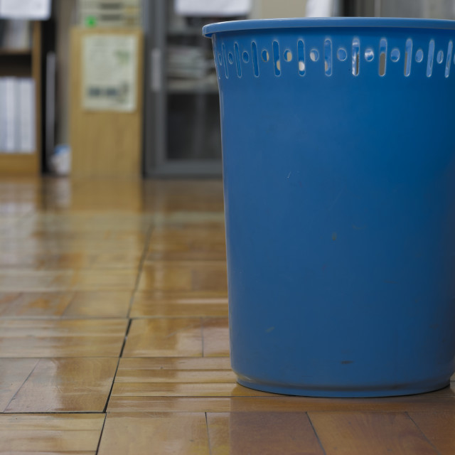 """blue plastic trash bin"" stock image"